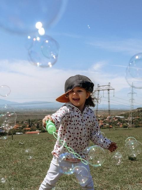 Brincando com bolha de sabão